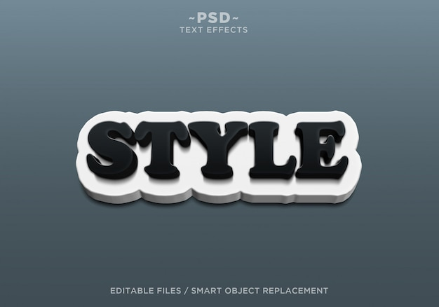 3d utwórz styl czarno-biały edytowalne efekty tekstowe