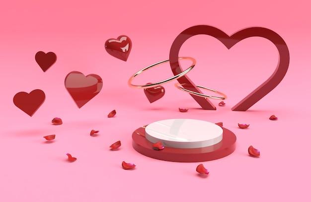 3d valentine produktu złoty pierścień sceny sceny czerwone serce w renderowaniu 3d
