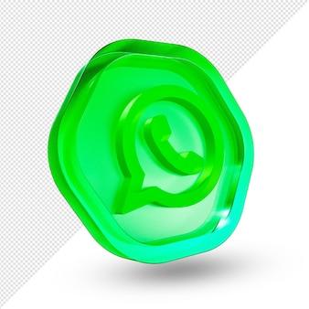 3d whatsapp logo szkło akrylowe na białym tle