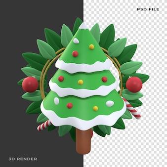 3d wieniec bożonarodzeniowy sosna renderowany na przezroczystym tle