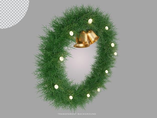 3d wytopiony świąteczny wieniec z przezroczystym tłem dzwonka z góry vie