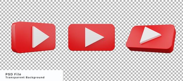 3d youtube logo icone element projekt pakiet z różnymi kątami wysokiej jakości