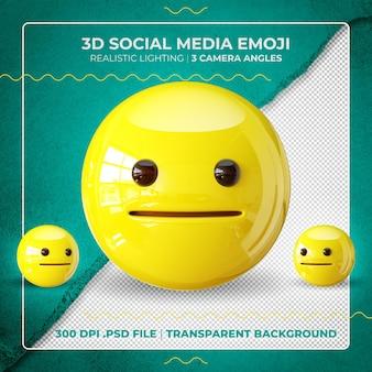 3d zakłopotany emoji na białym tle