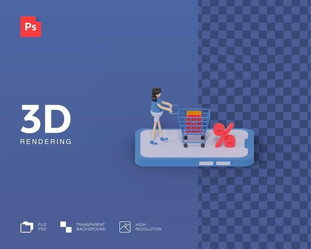 3d zakupy online ilustracja