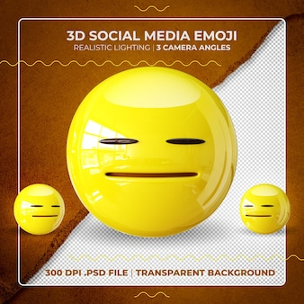 3d zdenerwowany emoji na białym tle