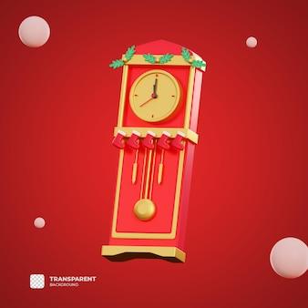 3d zegar świąteczny z przezroczystym tłem