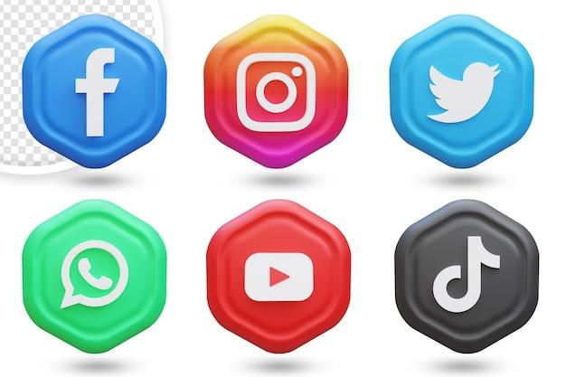 3d zestaw ikon mediów społecznościowych lub kolekcja logotypów
