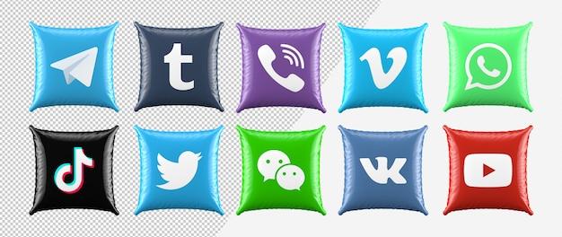 3d zestaw ikon mediów społecznościowych poduszki