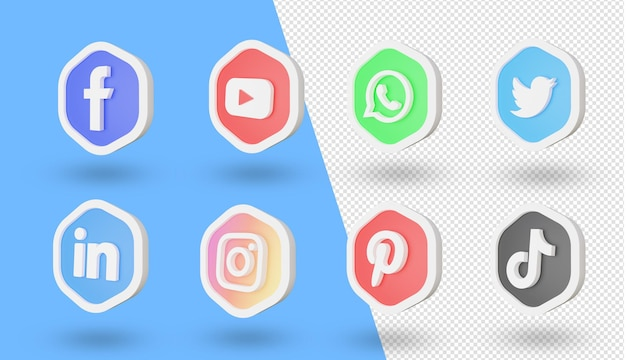 3d Zestaw Logo I Ikon Mediów Społecznościowych Premium Psd