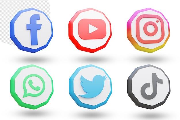 3d zestaw logo i ikon mediów społecznościowych
