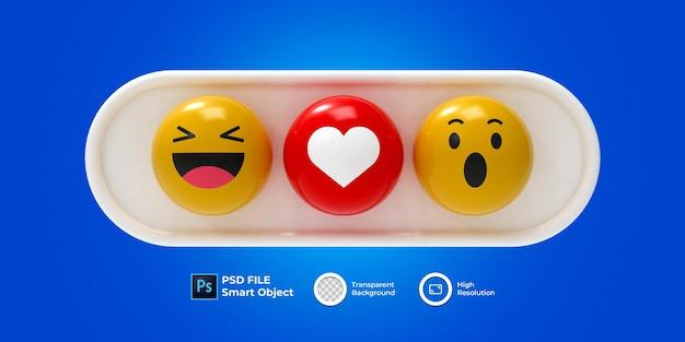 3d zestaw renderowania 3d emoji na białym tle