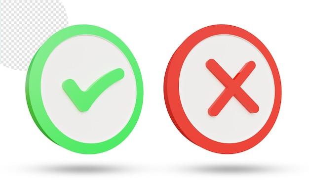 3d zestaw symboli krzyża i znacznika wyboru