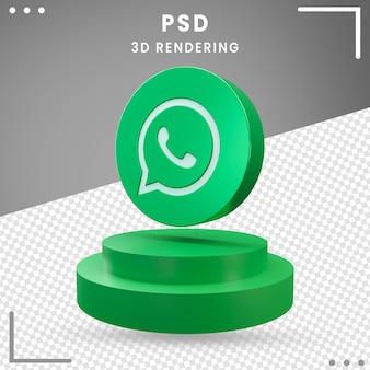 3d zielona obrócona ikona logo projekt whatsapp rendering izolowane