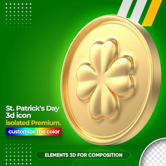 3d złota moneta do renderowania st patrick's day