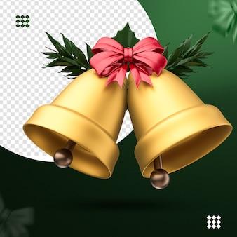 3d Złote Dzwony Z Czerwoną Kokardą I Gałęziami Drzew Premium Psd