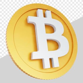 3d złote monety bitcoin na białym tle