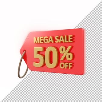 3d znaczek mega sprzedaż 50% zniżki na białym tle