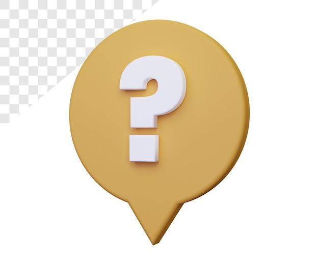 3d znak zapytania lub pytanie o renderowanie na białym tle