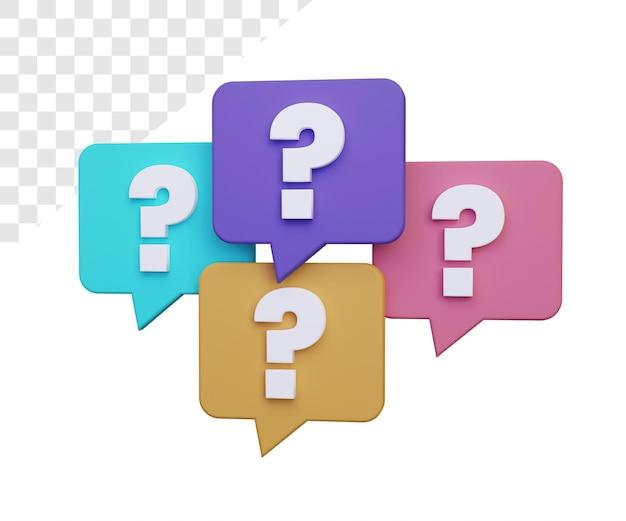 3d znak zapytania lub renderowanie faq na białym tle