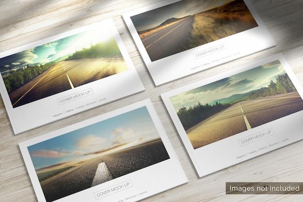 4 czasopisma krajobrazowe z miękką okładką na drewnianej makie biurka