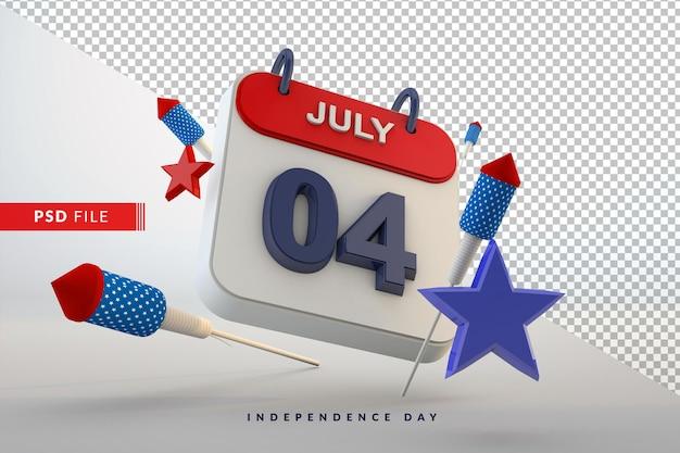 4 lipca dzień niepodległości kalendarza 3d amerykańskie święto