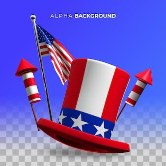 4 lipca. ilustracja dzień niepodległości. ilustracja 3d