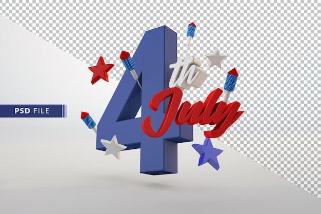 4 lipca niepodległości na białym tle renderowania 3d