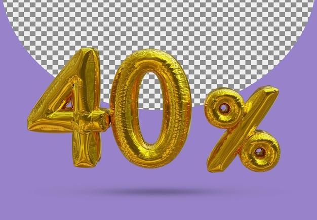 40 procent złoty balon foliowy realistycznego 3d na białym tle