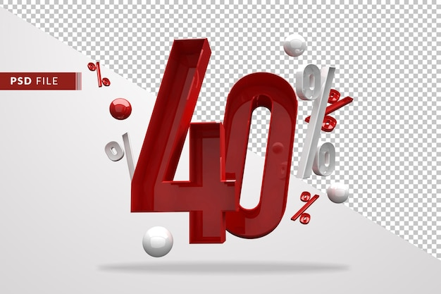 40 procent znak procent 3d numer czerwony, szablon pliku psd