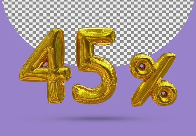 45 procent złoty balon foliowy realistycznego 3d na białym tle