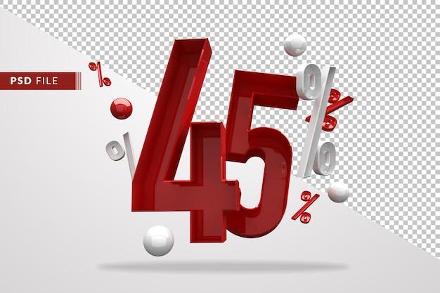 45 procent znak procent 3d numer czerwony, szablon pliku psd