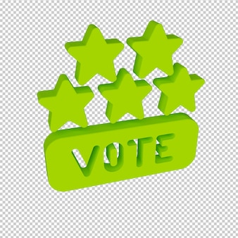 5-gwiazdkowa ocena głosowania renderowanie 3d inteligentny ilustrowany obiekt przezroczysty