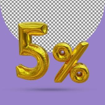 5 procent złoty balon foliowy realistycznego 3d na białym tle