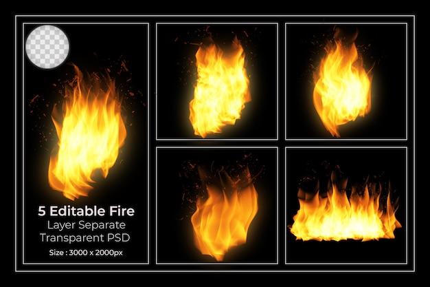 5 przezroczystych płomieni ognia