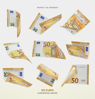 50 banknotów euro pieniądze renderowania 3d