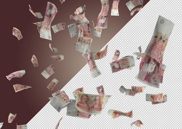 50 funtów deszcz pieniędzy - setki 50 funtów spadają z góry