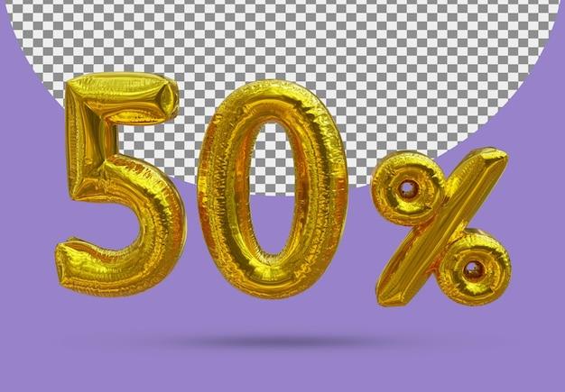 50 procent złoty balon foliowy realistycznego 3d na białym tle