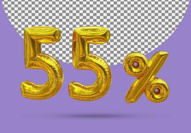 55 procent złoty balon foliowy realistycznego 3d na białym tle