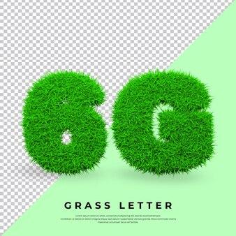 6g list w trawie na białym tle