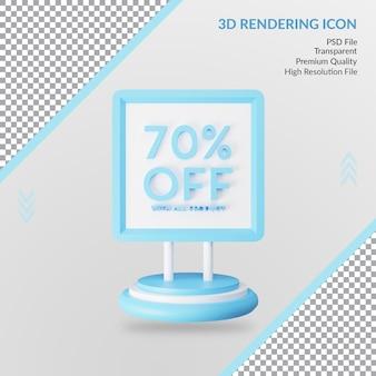 70 procent zniżki na specjalną ikonę renderowania 3d na białym tle