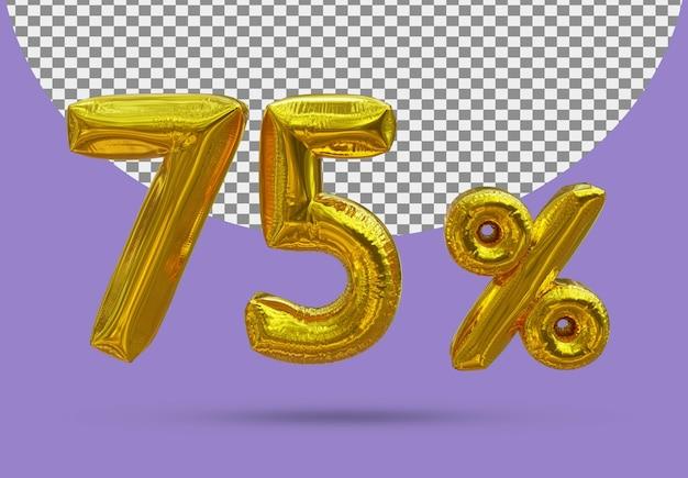 75 procent złoty balon foliowy realistycznego 3d na białym tle
