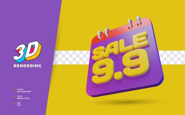 9.9 dzień zakupów rabat promocja sprzedaży 3d render obiektu
