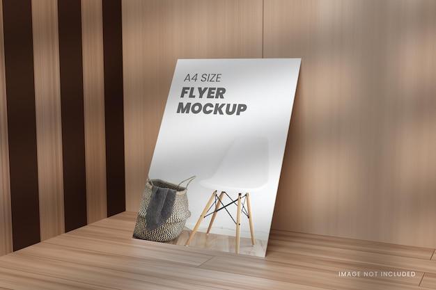 A4 plakat makieta ulotki w renderowaniu 3d z drewnianym tłem