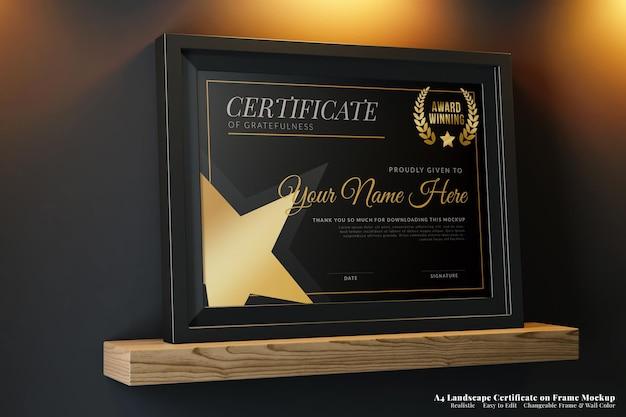 A4 poziomy elegancki certyfikat na realistycznej makiecie ramy w nowoczesnym ciemnym wnętrzu