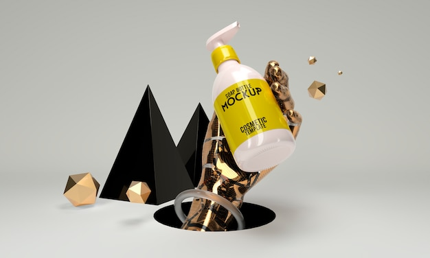 Abstrakcjonistyczny kosmetyczny szablon butelki mydło 3d odpłaca się makieta