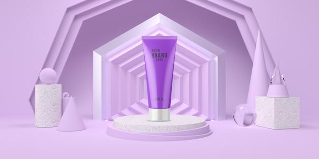Abstrakcjonistyczny purpura pokazu podium z geometrycznego kształta pastelowego koloru kosmetycznym szablonem 3d odpłaca się