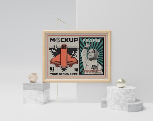 Abstrakcyjna makieta ramki na zdjęcia w stylu vintage