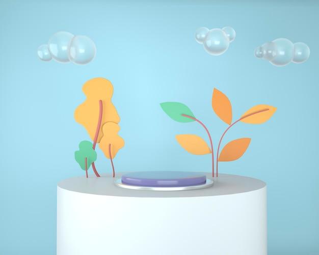 Abstrakcyjne geometryczne kształty ekspozycji produktów z minimalnymi i nowoczesnymi renderami pojęć