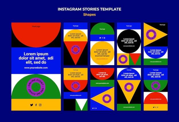 Abstrakcyjne kolorowe kształty opowiadań na instagramie
