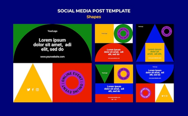 Abstrakcyjne Kolorowe Kształty Postów Na Instagramie Premium Psd